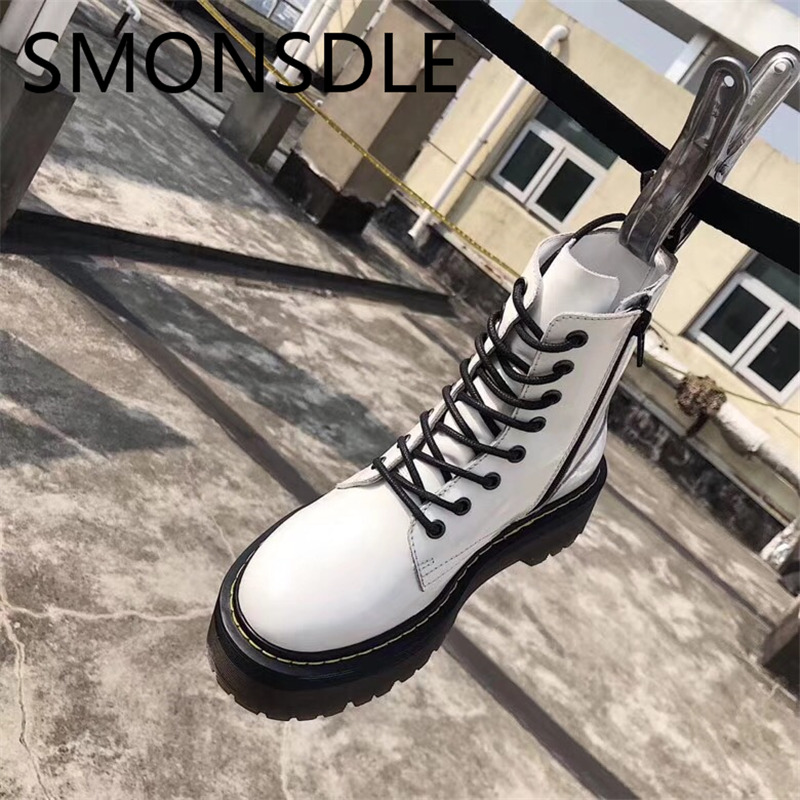 SMONSDLE New Black White Genuine Leather Women Ankle Boots Round Toe Lace Up Thick Heel Women Autumn Winter Boots Shoes Woman smonsdle new genuine leather white women ankle boots round toe buckle back zip chunky heel women autumn winter boots shoes woman