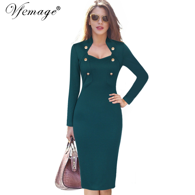 Vfemage Womens Autumn Winter Long Sleeves Button Elegant Vintage Wear to  Work Business Office Sheath Bodycon Pencil Dress 8097 4dd097595