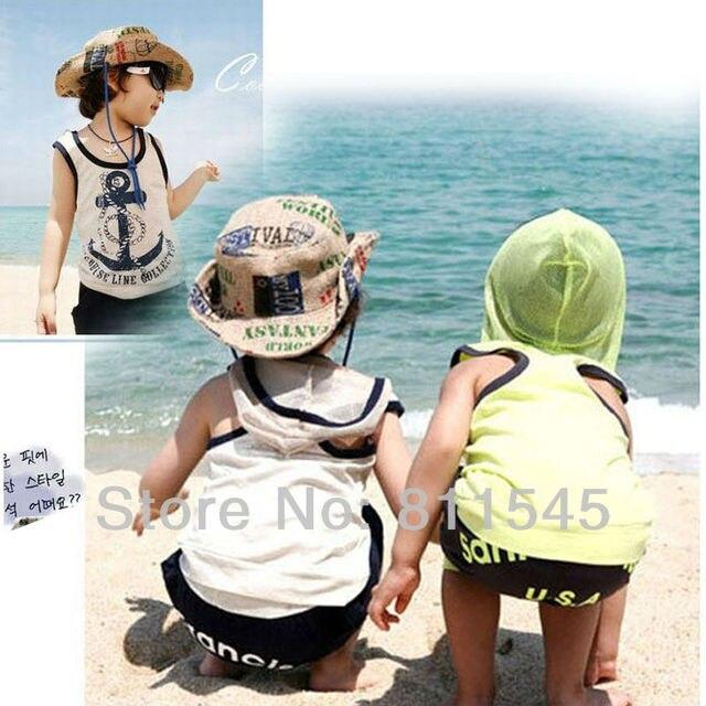 Милый якорь младенцы костюм для мальчик T рубашка шорты 2-Piece комплект лето малыша одежда дети одежда дети в