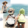 Retail Cute Anchor Baby Suit for Boy T Shirt Shorts 2-Piece Set Summer 2014 New Toddler Clothing Kids Clothes Children's Wear