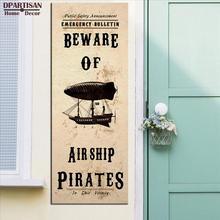 DPARTISAN Steampunk Art Print Wall Poster Beware Airship Pirates wall pictures print no frame wall pictures home decor SP-47