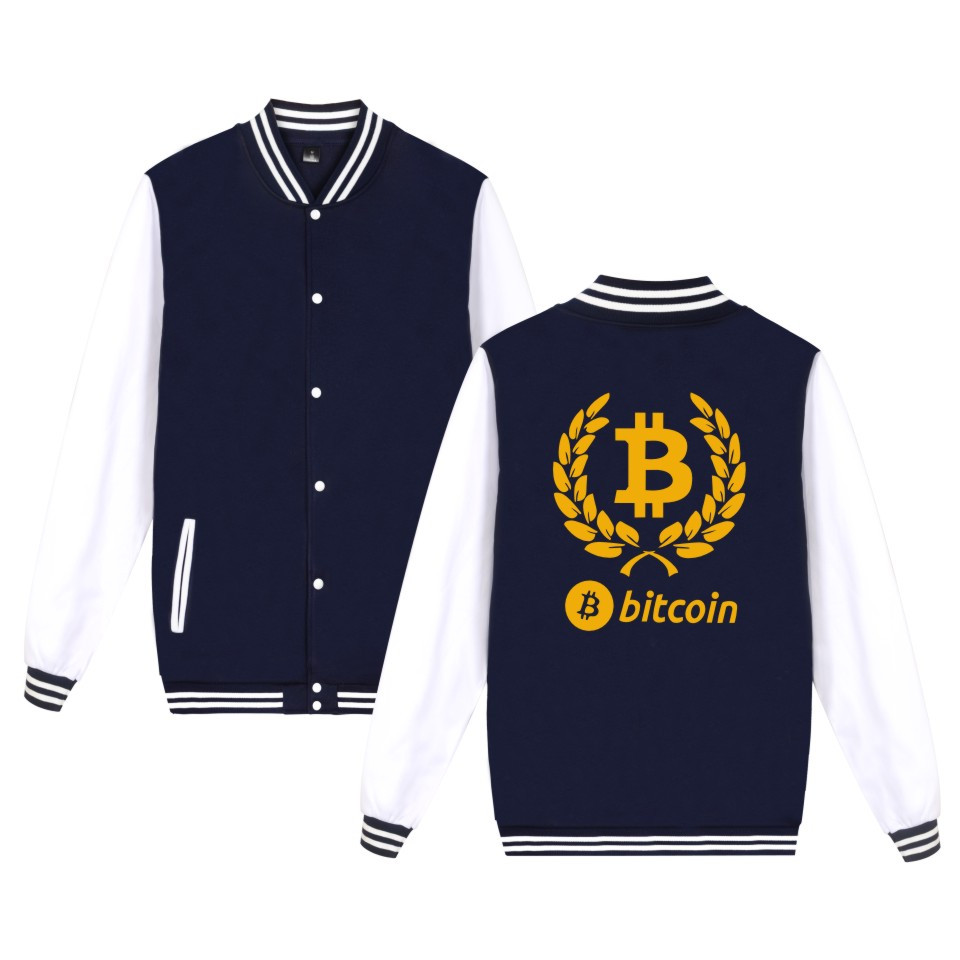Digital currency Bitcoin Logo baseball jacket fashion style  hoodies men Prevailing bitcoin logoJacket 4XL plus size