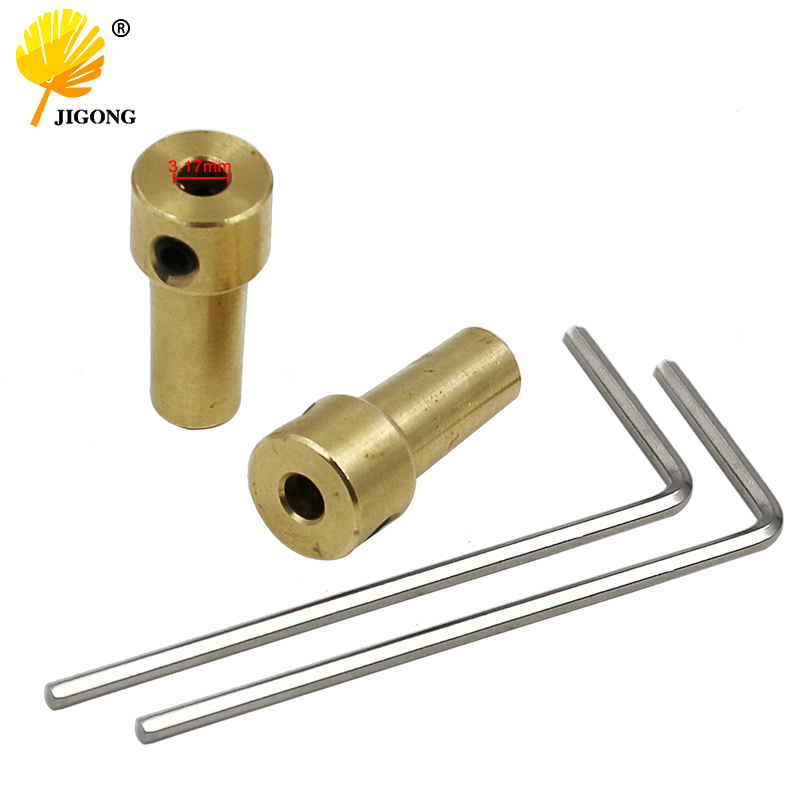 2sets Brass 3.17mm Electric Motor Shaft Mini Chuck Shaft Coupling Motor Connector Rod For 0.3~4mm Jt0 Electric Dirll Chuck Clamp