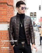 90% White duck down Men Genuine Leather Winter Coat Mink fur Stand collar Men's Jacket Pure color Plus Size M-4XL