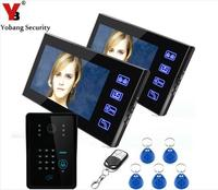 Yobang Security 7 Inch Remotes RFID Password Control Video Doorphone System Code Keypad Intercom Video Doorphone