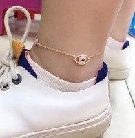 Rose Gold 925 Sterling Silver Evil Eye Anklets For Women Thin Chain Zircons Ankle Bracelet Leg Bracelet New Foot Brand Jewelry