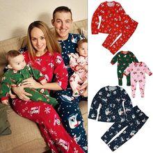 Комплект одинаковых рождественских пижам для всей семьи; Повседневная хлопковая одежда для сна из 2 предметов с принтом оленя; комплекты одежды для сна