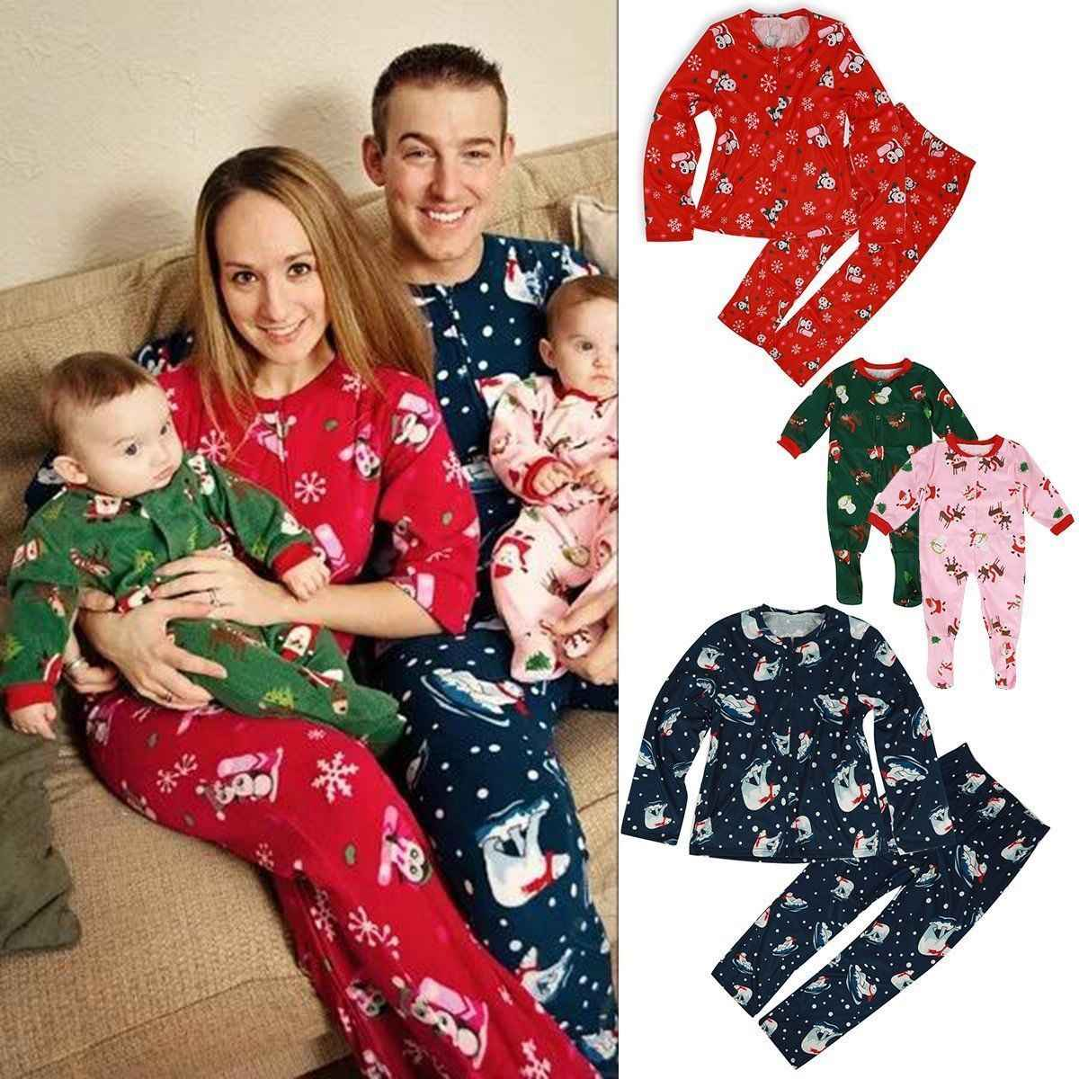 Family Matching Christmas Pajamas Set Womens Mens Baby Kids Deer printing cotton casual 2pcs Sleepwear Nightwear clothes sets