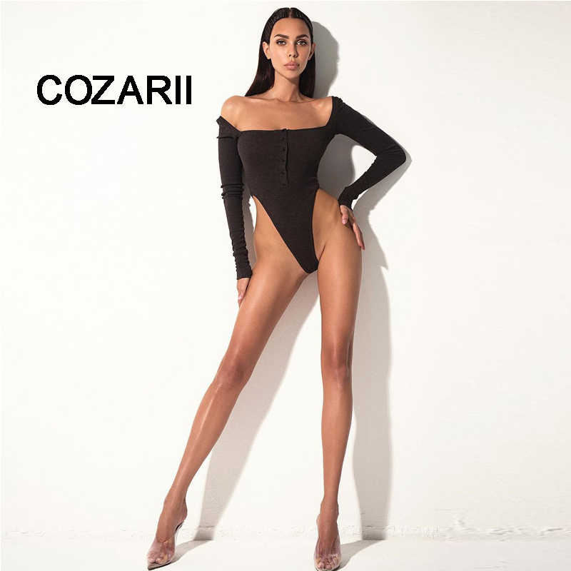 COZARII Sexy Bodysuit Women 2018 Autumn Backless Deep One-neck  Slim Playsuit Bodycon Rompers Womens Jumpsuit Overalls Tops
