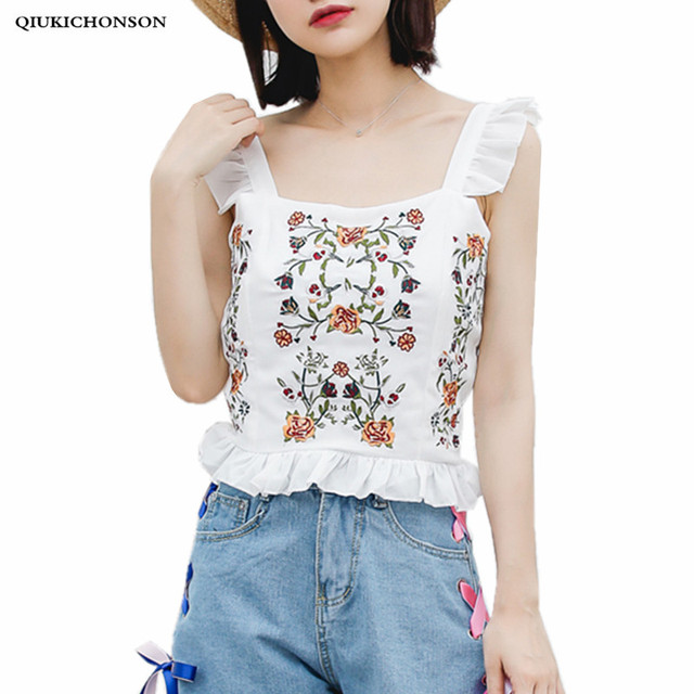 0bcc1bfc38a8e Qiukichonson Ladies Sleeveless Blouses Summer Vintage Ethnic Embroidery  Chiffon Blouse Womens Crop Top Frill Ruffle Tank Tops