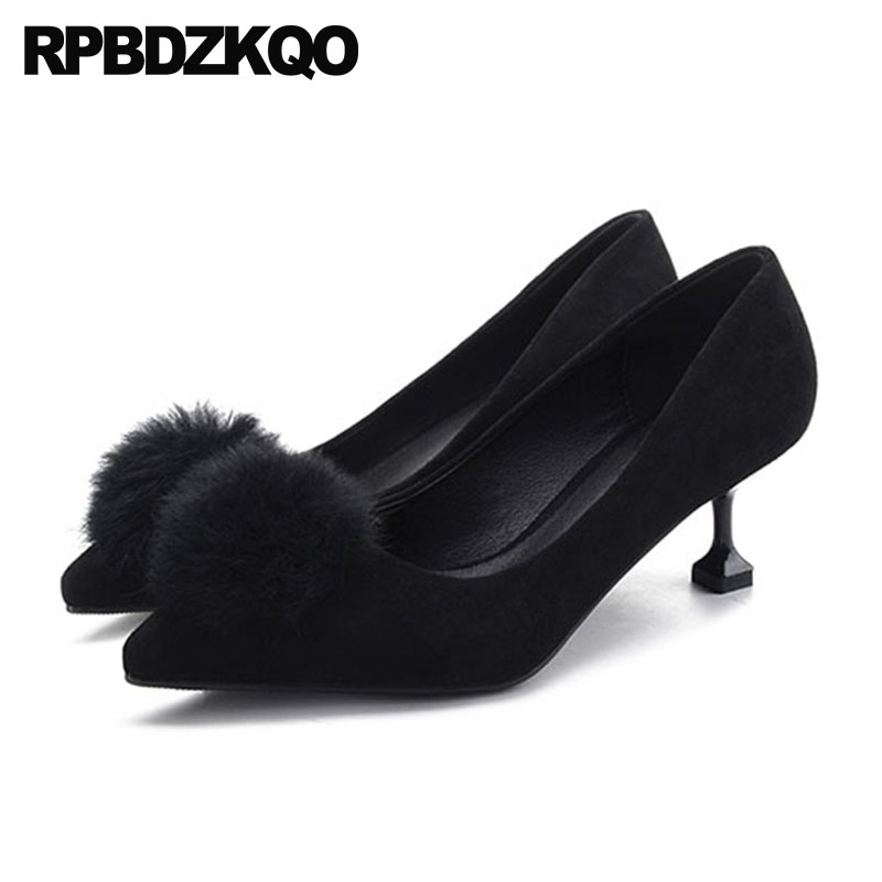 Suede 10 42 Kawaii Fur 11 43 Size 33 Fashionable Ladies Yellow Shoes For  Wedding Black Big Kitten Medium Heels Pointed Toe Pumps 64ace3499923