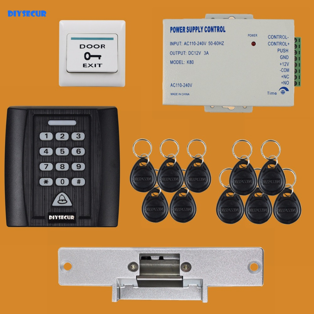 DIYSECUR 5 in 1 125KHz RFID Password Keypad Access Control System Security Kit + Electric Strike Lock Door Lock + Exit Button diysecur 280kg magnetic lock 125khz rfid password keypad access control system security kit exit button k2