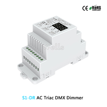 Free shipping S1-DR AC Triac DMX Dimmer;AC100V-240V DIN rail 2CH Dual channel output Silicon DMX512 LED controller