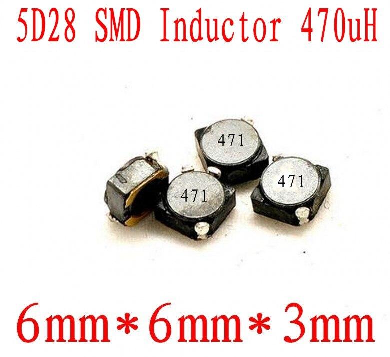 Nuevo SMD inductores 5D28 470uh 471 Chip inductor 6*6*6*6*3mm protección inductor de potencia 1000 Uds