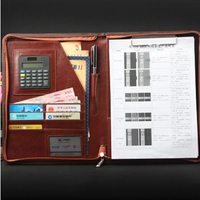 High Quality Business A4 Manager Red Black Planner Custom Zip Bag Style Pu Leather Document Folder