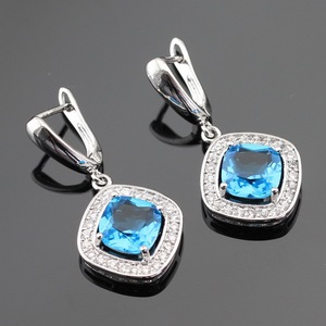 Light Blue Created Pink White CZ Silver Color Drop Earring Jewelry For Women Free Gift Box Made in China