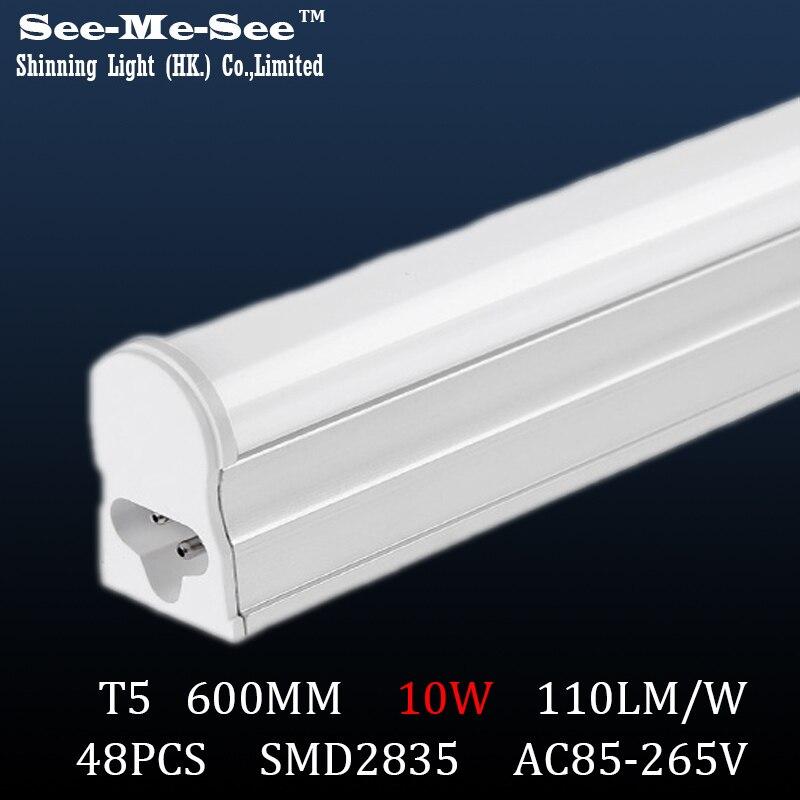 T5 led tube 600MM 10W AC85 265V SMD2835 48led chips pcs tube led fluorescent light 20PCS