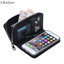 LRuiize Luxury Leather phone cases For Apple iphone 6 6S/ Plus with Zipper Wallet Card Multifunction phone back covers Hot