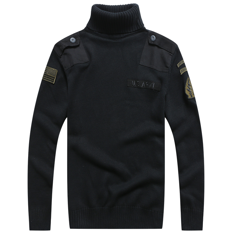 f7f542acbe63cd BONJEAN Men s Military Sweater Patch Design Tactical Army Knitted Highneck Sweaters  Autumn Winter Casual Thick Pullover-in Pullovers from Men s Clothing on ...