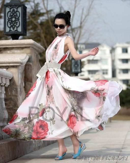 Chiffon jurk vrouwen 2014 lente elegante bloem ontwerp grote schommel volants maxi jurk gratis verzending