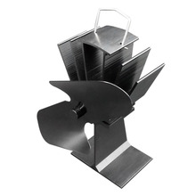 Durable 2 Blades Aluminum Black Heat Powered Stove Fan Fuel Saving Eco-friendly Wood Burner Stove Fan Ultra-quiet цена и фото