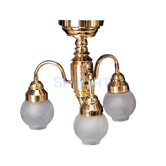 1 12 Dollhouse Miniature Furniture Tulip Shaped Chandelier 3 Arm Lamp Led Gl Shade Ceiling Light Dolls House Accessories
