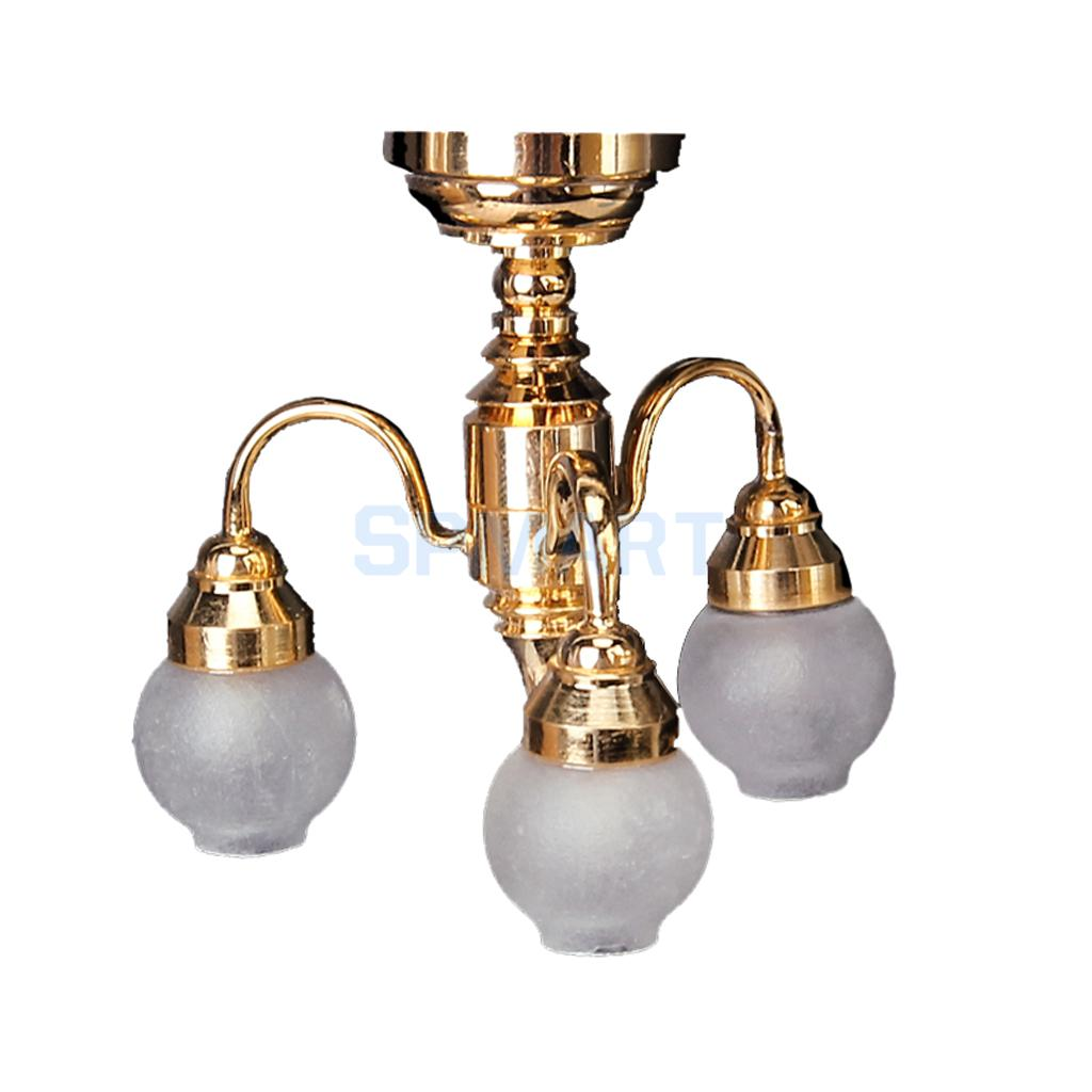 1/12 Dollhouse Miniature Furniture Tulip Shaped Chandelier 3 Arm Lamp LED Glass Shade Ceiling Light Lamp Dolls House Accessories