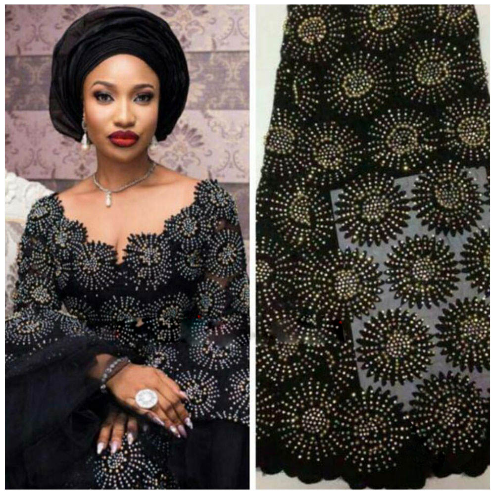 Nigerian Lace Fabric 2018 High Quality Lace African Tulle Lace With Stones Nigerian French Latest African