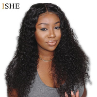 13x6 Deep Part Lace Front Human Hair Wigs Deep Curly Wigs Glueless Remy Hair Preplucked Curls Wigs Full End For Women Black ISHE