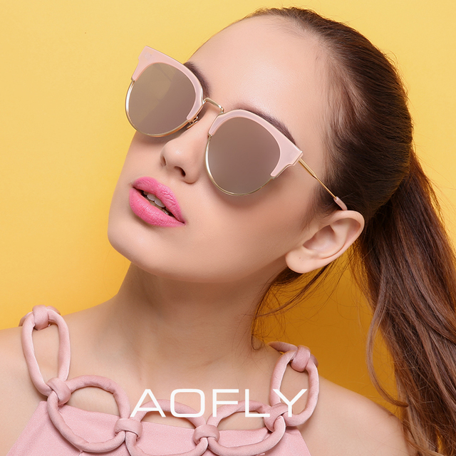 AOFLY Fashion Half Metal Sunglasses Women Original Brand Designer Cat Eye Sun Glasses Female High Quality Vintage Oculos AF7969