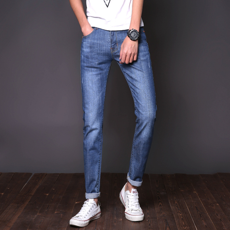 New Arrival Fashion Jeans For Men Quality Cotton Straight Elasticity Pants plenty high spray extreme super Blue Skinny Slim Jean