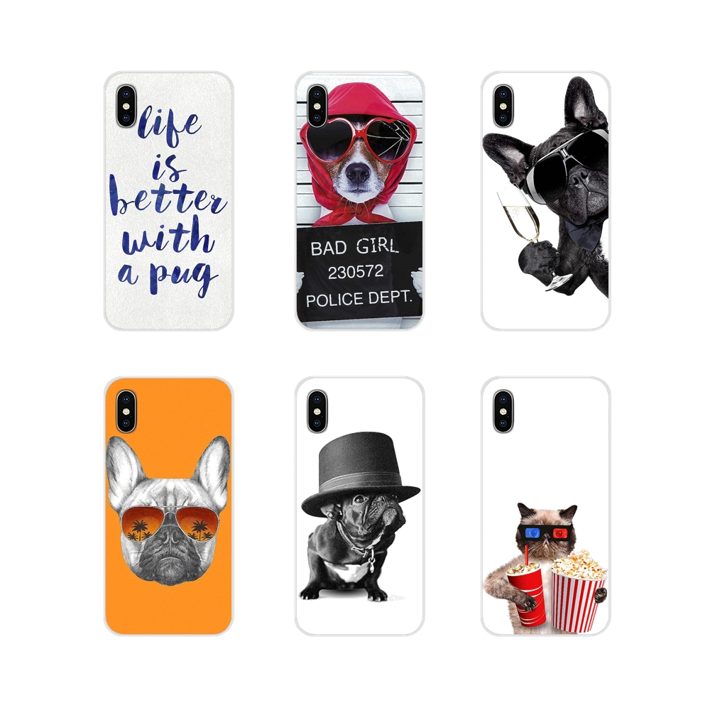 Silicone <font><b>Cover</b></font> For <font><b>Xiaomi</b></font> Mi4 Mi5 Mi5S Mi6 <font><b>Mi</b></font> A1 <font><b>A2</b></font> 5X 6X 8 9 Lite SE Pro <font><b>Mi</b></font> Max Mix 2 3 2S Cute Funny Animal Dogs and Cats <font><b>Pugs</b></font> image