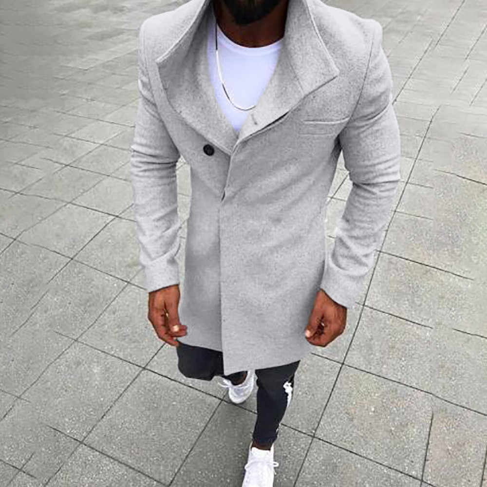 9fb85339389a7 ... FeiTong Coat Men Winter Jacket Wool Fashion Warm Slim Fit Trench Coat  Long Sleeve Outwear Top ...