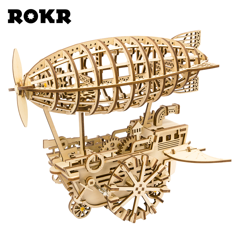 ROKR DIY 3D Wooden Puzzle Mechanical Gear Drive Air Vehicle Assembly Model Building Kit Toys for