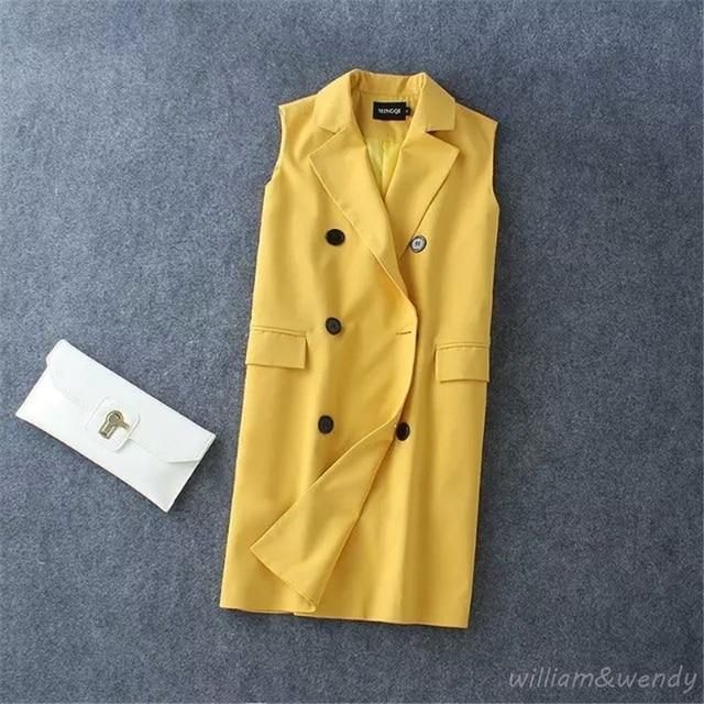 Women Office Formal Feminino Casual Blazer Jacket Sleeveless Candies Long Coat Female Vest Cardigan Korean Fashion Clothing XXXL