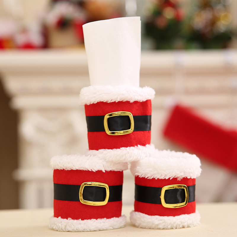 Santa Claus Red Napkin Rings Holder Elf Cloth Tissue Boxes Party Banquet Dinner Table Christmas Decoration Serviette Holder 1