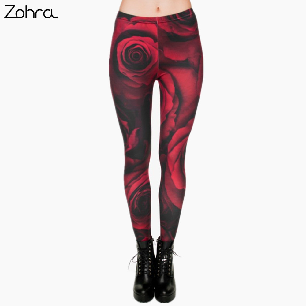 Zohra Fashion Flowers Printing   Legging   Punk Women Legins Stretchy Trousers Casual Women Pants   Leggings
