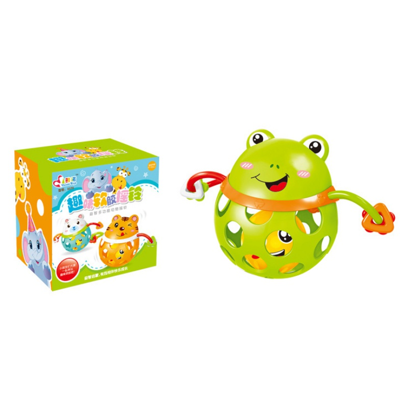 Baby Boys Girls Soft Rubber Hollow Rattle Cartoon Animal Teethers Ball Educational Toy GiftC