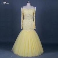 Rse682 See Through Sheer с длинным рукавом Желтый Русалка Кружево платье для выпускного вечера