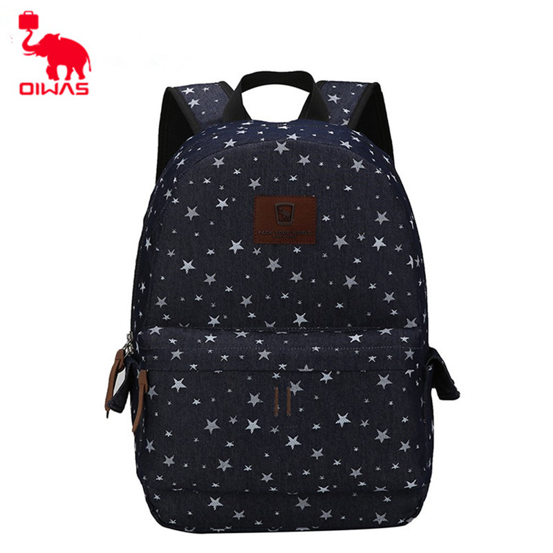 Oiwas 18.7L Denim Fabric Leisure Style Laptop Backpack Dual Thicken Electronic Product Interlayer Multi-function Unisex цена и фото