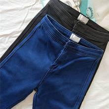 Vaqueros súper elásticos para mujer nuevo otoño invierno más terciopelo largo de cintura alta pantalones vaqueros ajustados de mezclilla para mujer c5683