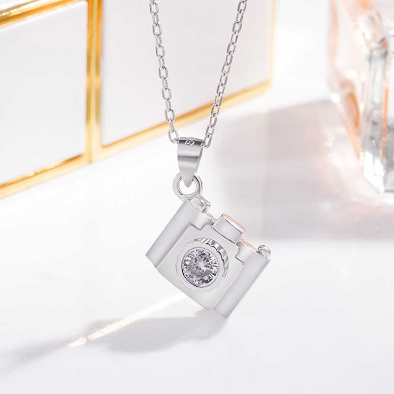 32275318cd8 Photography  Personality solid silver camera pendant. Elegant 100% 925  sterling silver women s necklace. Photography ...