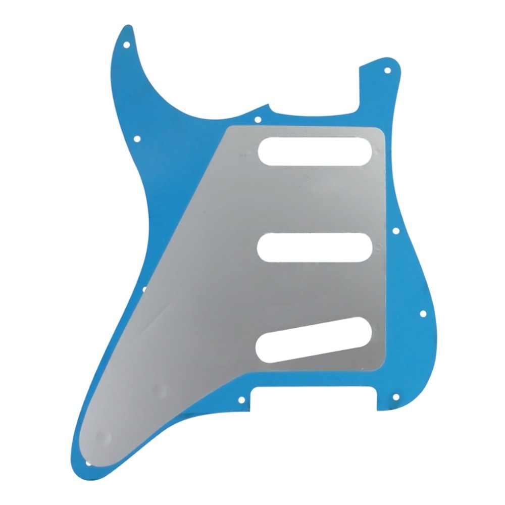 FLEOR 1Ply Rosso Specchio Pickguard della Chitarra Piatto della Graffiatura di Pickguard SSS 11 Fori & Back Plate & Viti per Chitarra Accessori