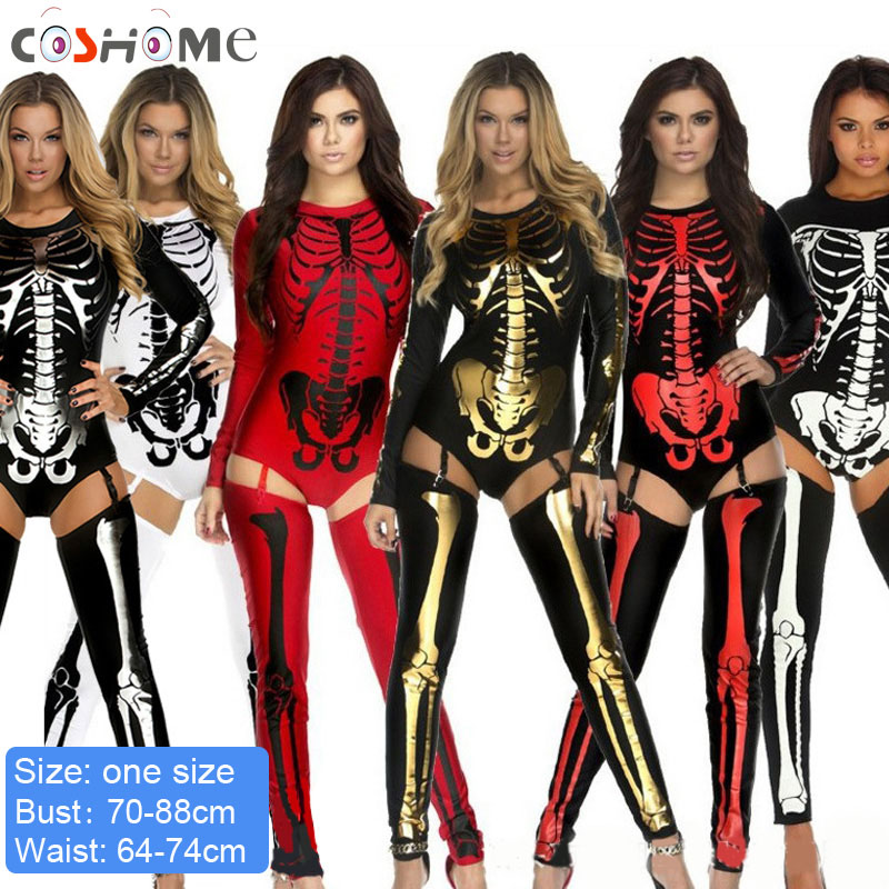 Coshome Halloween Party Cosplay Costumes Women Girls Skull Bodysuit Adult Vampire Ghost Clothing Role Play Outfit