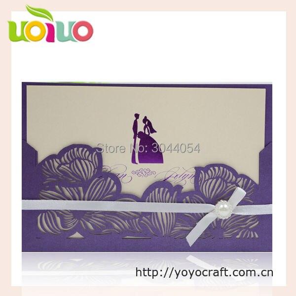 Laser Cut Lotus Poket Wedding Invitation Card Design With Ribbon