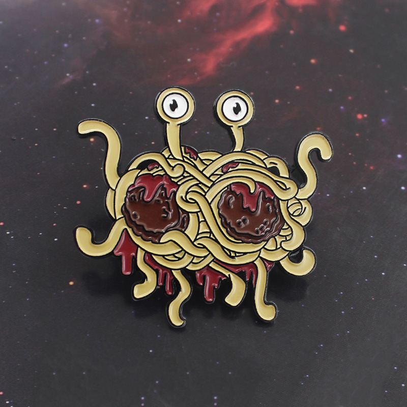 Ingenious Flying Spaghetti Freak Brooch Funny Pastafarianism Ramen Monster Fsm Enamel Pin Hat Denim Fun Badge Friends Creative Gifts Refreshing And Enriching The Saliva Jewelry & Accessories Brooches