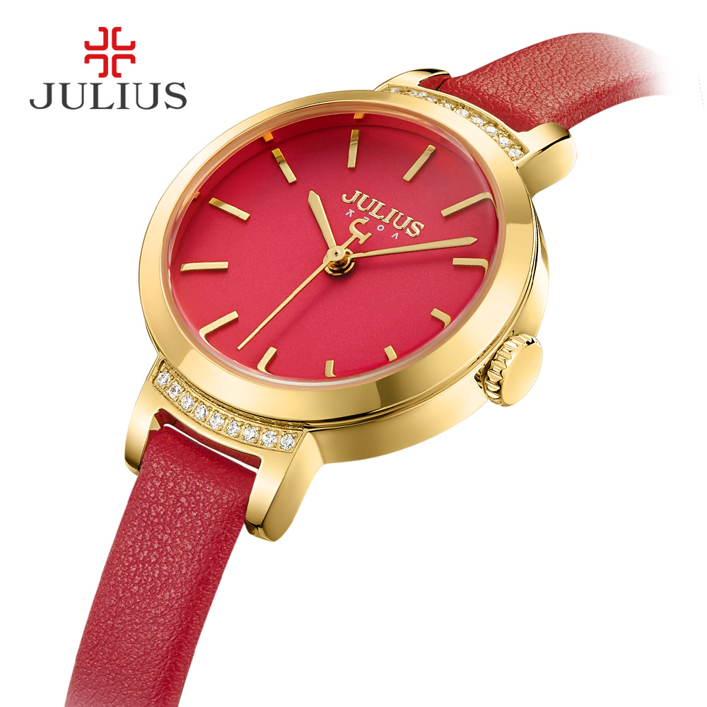 JULIUS Brand New Chain Fashion Watch Women Leather Wristwatches Quartz Dress Watches Relojes Hombre Relogios Feminino Clock J