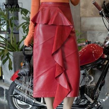 Top Quality Elegant Women Sheepskin Genuine Leather Women Faldas Largas Mid Calf Fashion Special Ruffles Straight Maxi Skirts