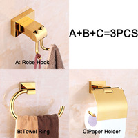 Brand New Golden Finish Bathroom Hardware Set Robe Hook+Paper Holder+Towel Ring Copper Material KF482