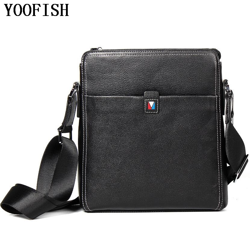 YOOFISH Genuine Leather Messenger Bags Men Casual Travel Business flap Shoulder Crossbody Bags Male leather bags men shoulder bags genuine leather vintage male business messenger bags vogue multifunction casual travel crossbody pack rucksack